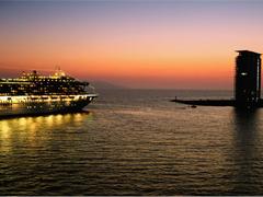 Cruis ship activity in Puerto Vallarta - Depart at Night